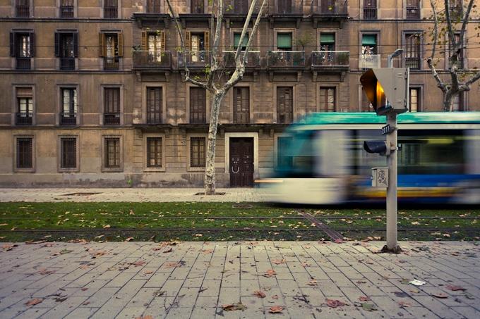Fotografía de un tram en la calle Wellington