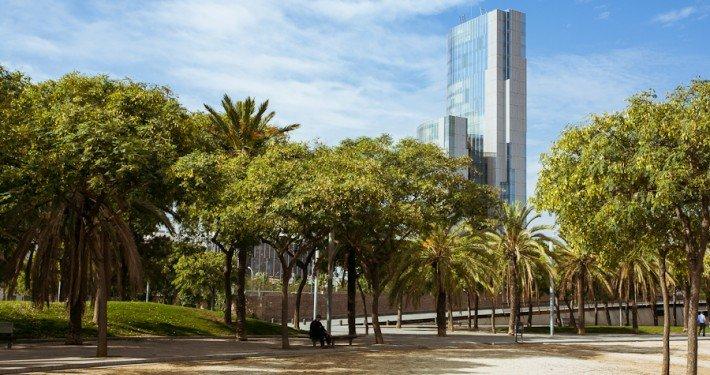 Fotografía del parque de la Barceloneta